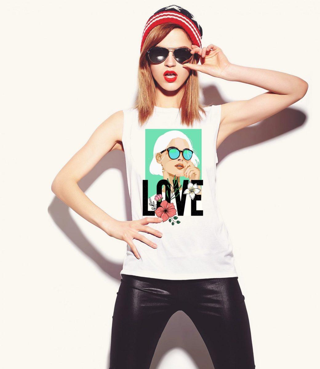 LOVE camiseta ilustrada para chica ilustracion camisetas para mujer ropa de mujer outfit de influencer