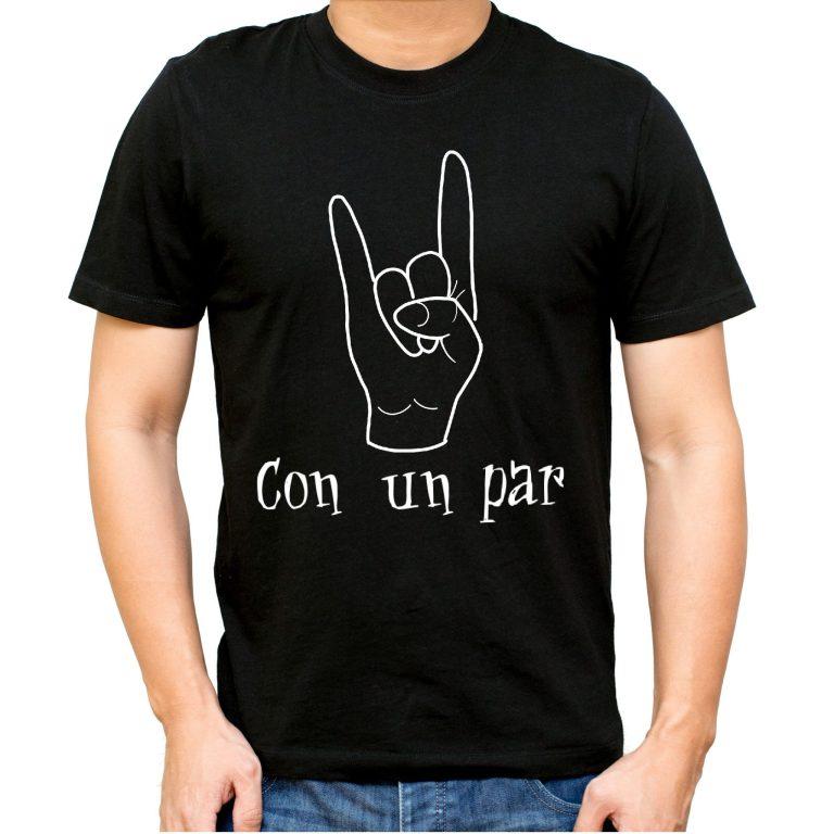 CAMISETA cuernos rock con un par dedos cuernos para chico camisetas divertidas musica