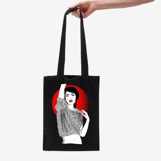 bolsa de tela ustrada chica tokio regalos originales para chicas bolsas de tela eco