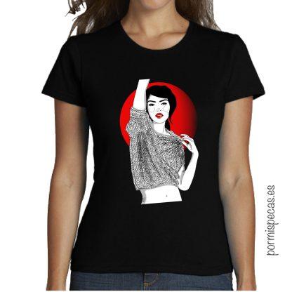 camiseta chica ilustracion tokio rojo negro camisetas originales, camisetas bonitas, outfits, comprar outfit, comprar camisetas, jeans