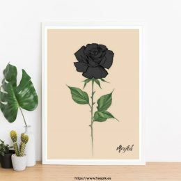 ROSA negra chica LABIOS ROJOS lamina print cuadro decoracion hogar ilustracones divertidas frescas decora tu vida decora tu espacio