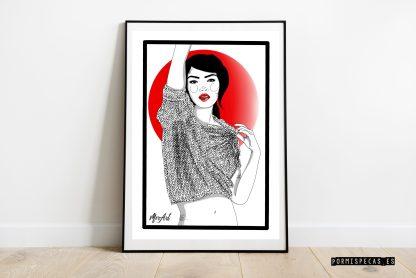 TOKIO chica en una botella playa blanco y negro lamina print cuadro decoracion hogar ilustracones divertidas frescas decora tu vida decora tu espacio