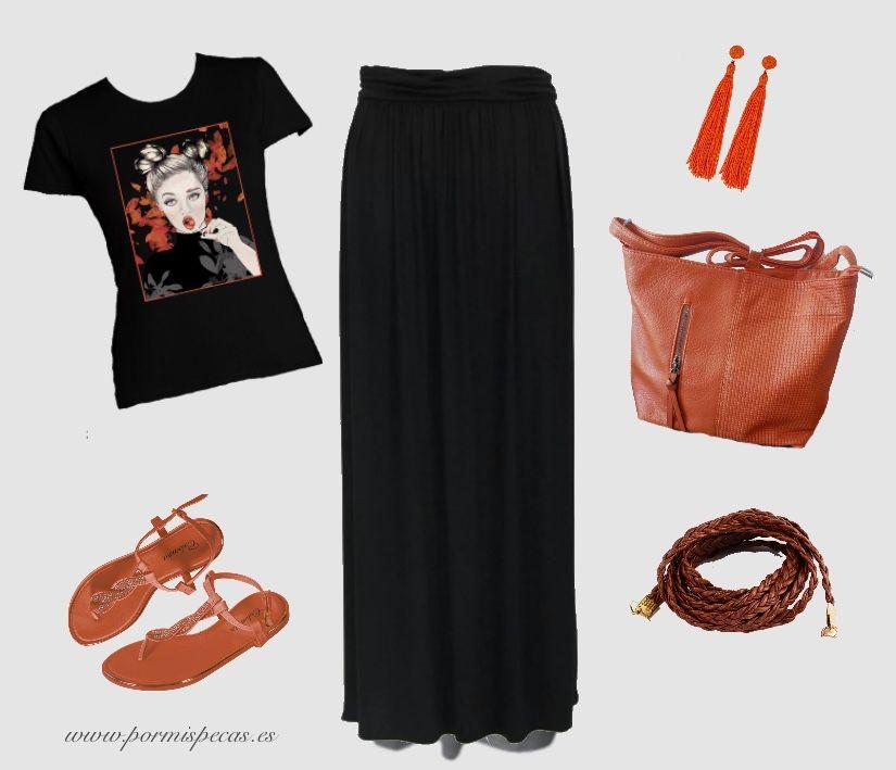 outfit falda larga bolso de rafia camiseta zapatillas de lona