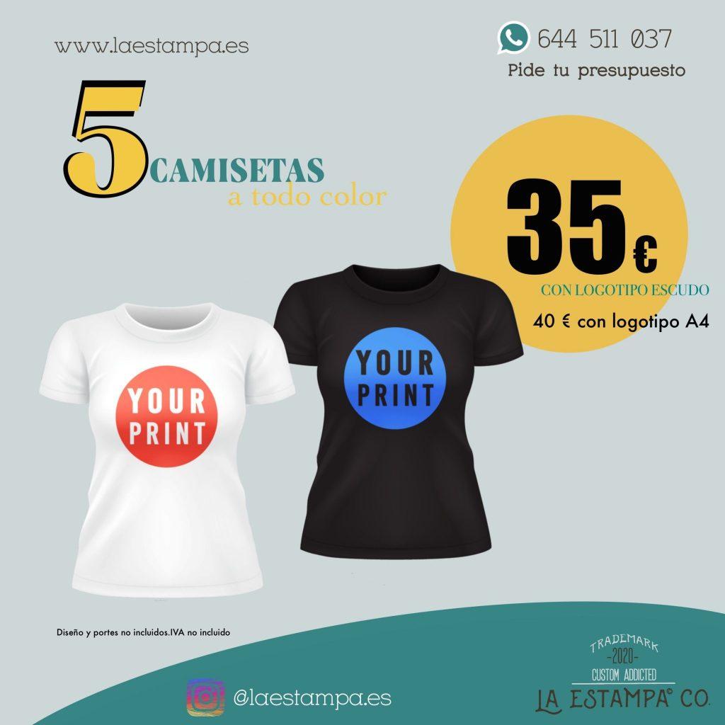 oferta 5 camisetas impresion digital A6 camisetas baratas camisetas en oferta estampacion camisetas oferta