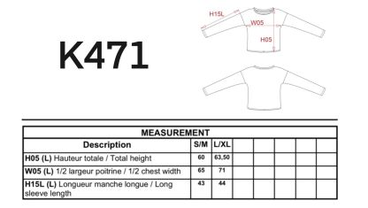 k471 tallas