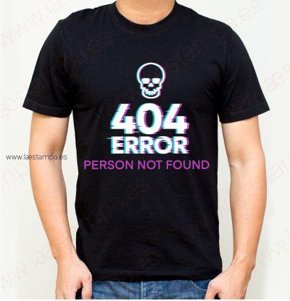 Camiseta hombre 404 error humor person not found
