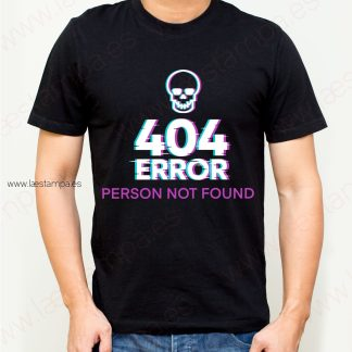 Camiseta hombre 404 error humor person not found
