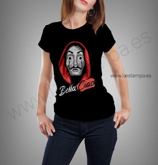 bella ciao casa de papel camiseta negra para mujer
