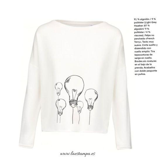sudadera mujer corte ancho minimalista diseño bombillas