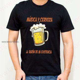 camiseta hombre musica y cerveza la razon de mi existencia humor diversion