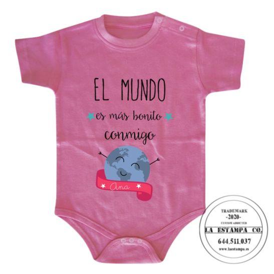 Body bebé el mundo es más bonito conmigo personalizado