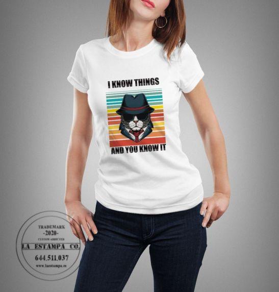 camiseta gato espia humor camisetas de gatos