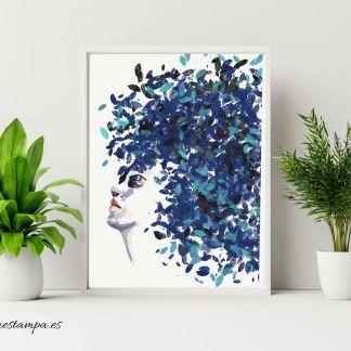 lamina print mujer naturaleza azul