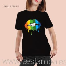 camiseta unisex multicolor lips regular negra