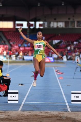 La tigresa Aris Sánchez rompió la marca de salto de longitud con 6.53 metros. (L. Minguela LAI)