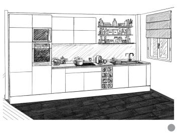 Dessin cuisine mur 1