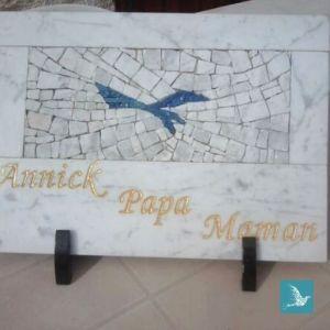 mosaique funéraire oiseau bleu