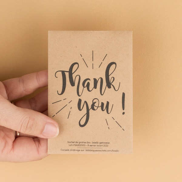 Seed pocket : Thank you with seeds inside