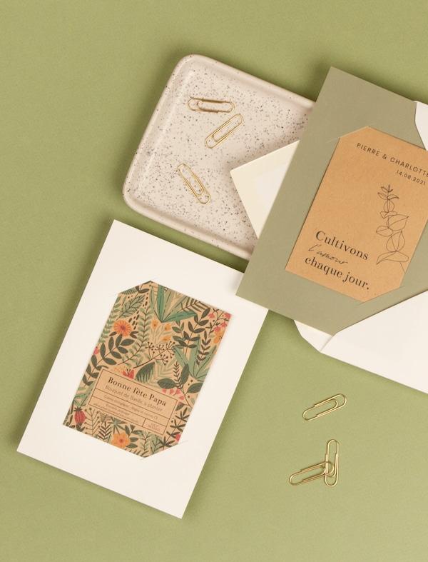cartes de correspondance verte à planter