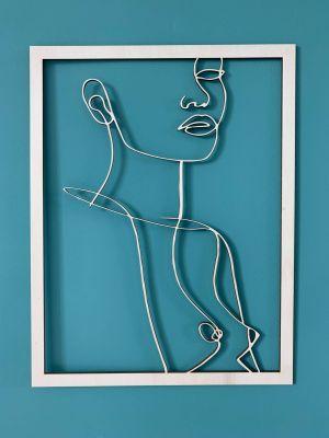 femme buste profil line art