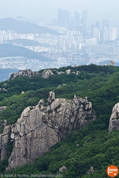 A cliff surrounding the town of Busan