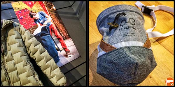 sac à magnésie YY vertical et veste mountain Hardwear escalade salon ISPO Munich