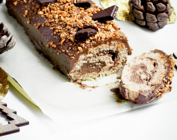 Bûche de Noël chocolat praliné {IG bas, adaptable vegan}