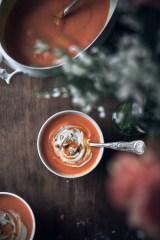 Velouté courge musquée, carottes et crème d'amandes