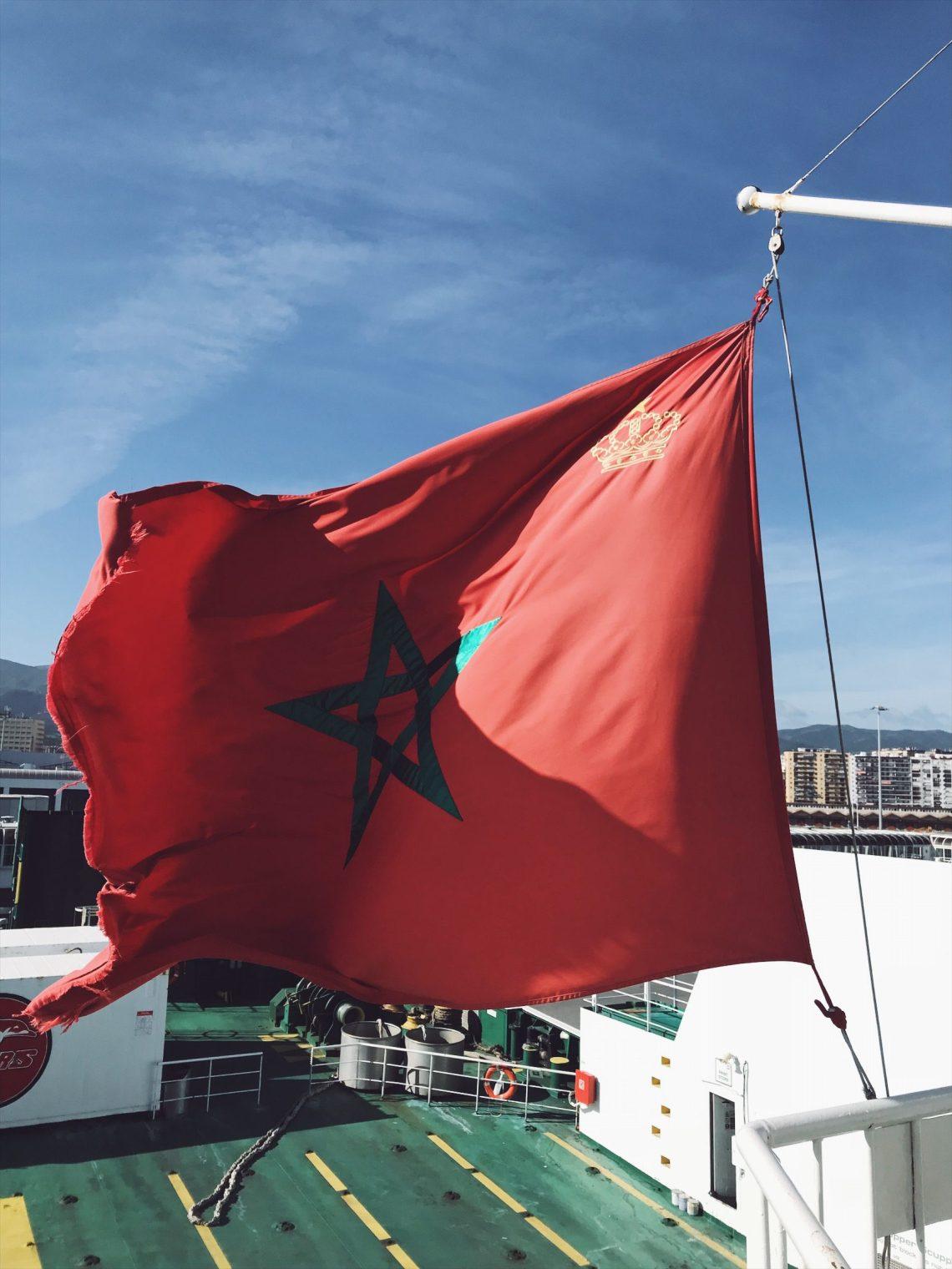 le drapeau du Maroc sur le ferry
