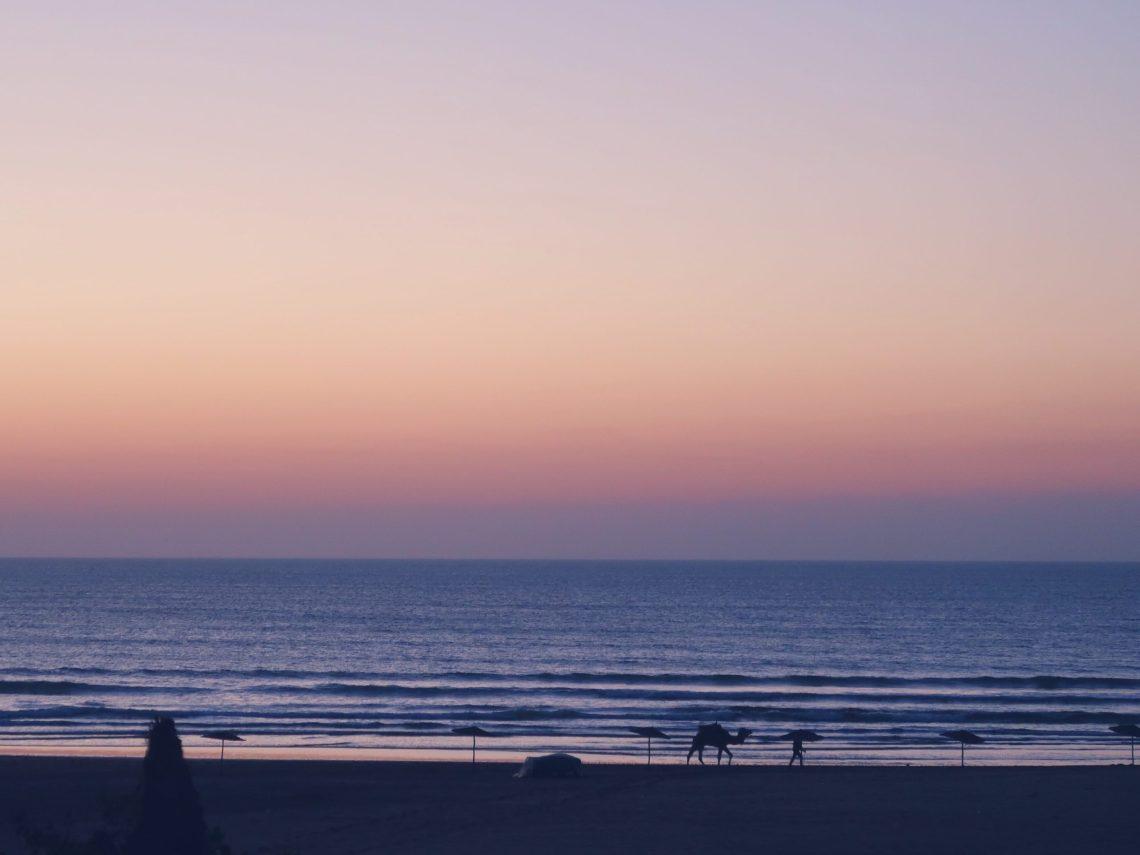 Coucher du soleil à Sidi Kaouki