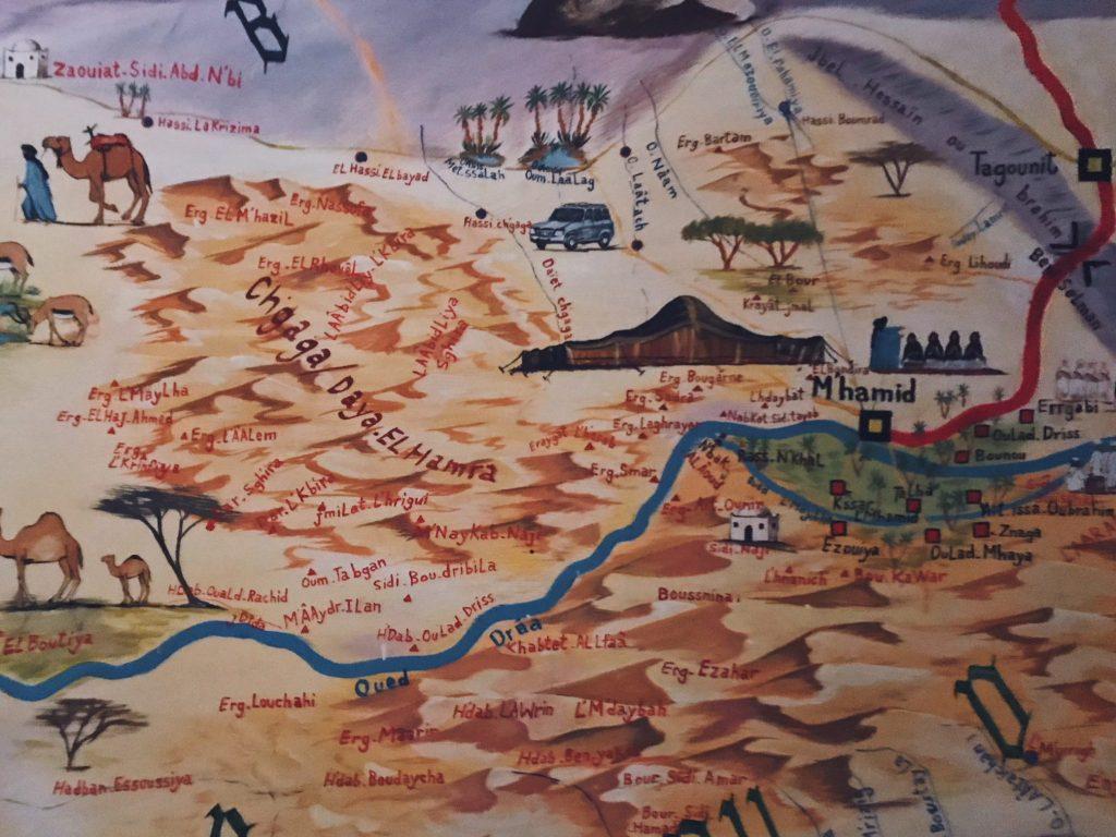 Voyage au Maroc Desert Sahara Erg Chegaga Mhamid carte peinte