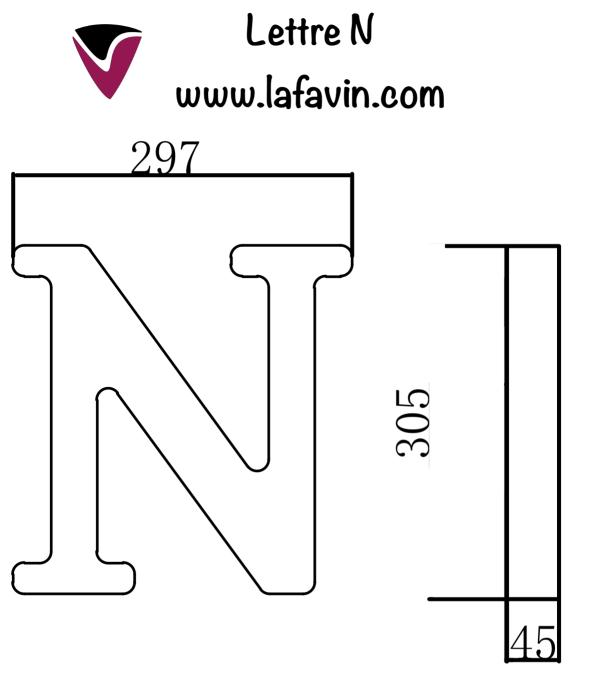 Lettre N Dimensions