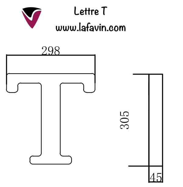 Lettre T Dimensions
