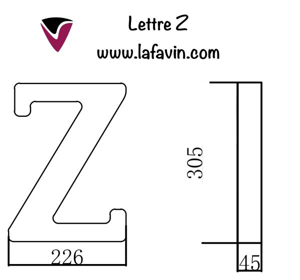 Lettre Z Dimensions