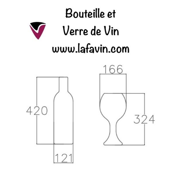 Bouteille et verre de vin dimensions