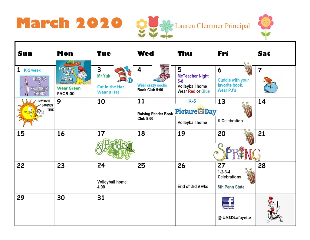 Lafayette Elementary Middle School March 2020 Calendar