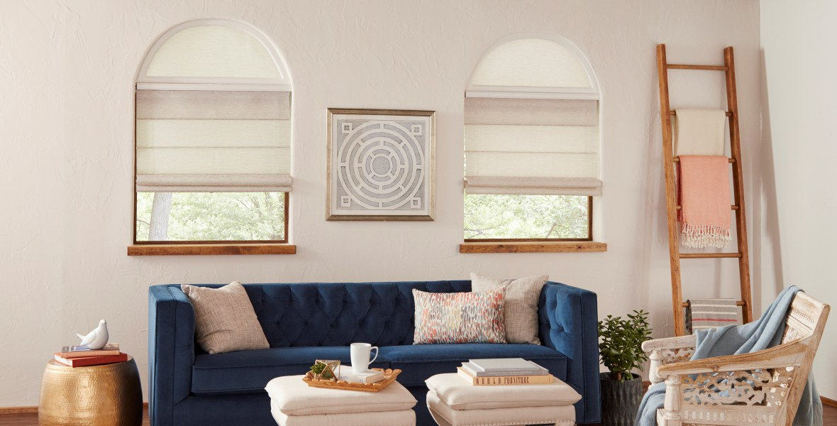 Genesis Traditional Roman Shade with Stationary Arch