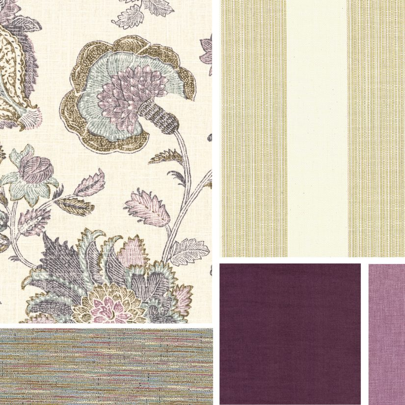Whimsical lilac floral pattern pairs with large cream and ecru striped fabric and deep violets.