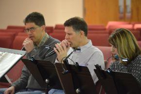 Praise team learning music