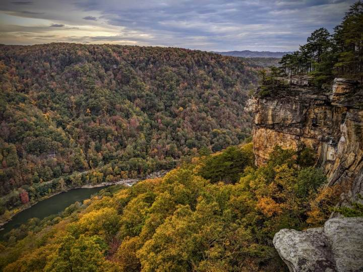 The Appalachian Mountains in the New River Gorge from the Endless Wall Trail.