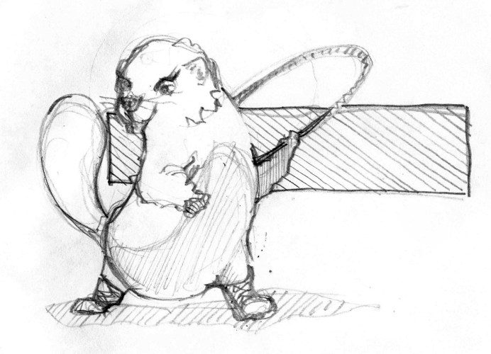 beaver with hoop drawing