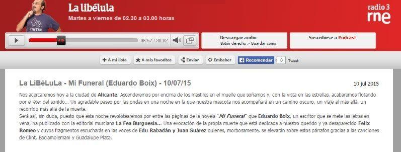 """""""Mi funeral"""" la novela de Eduardo Boix en el programa """"La Libélula"""" de Radio 3"""
