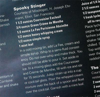 Spookt Stinger cocktail recipe