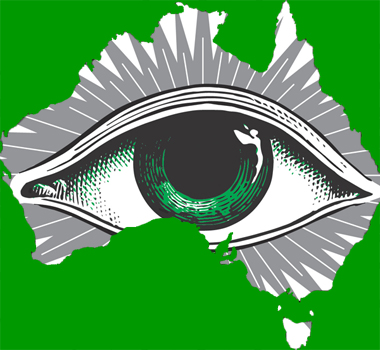 La Fée Eye logo in outline of Australia