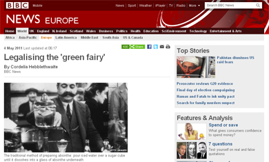 BBC article legallising absinthe in France
