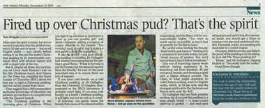 Absinthe in xmas pudding newspaper article