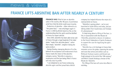 Magazine article regarding La Fée absinthe