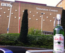 Bottle of La Fée absinthe outside BBC television centre Wood lane london