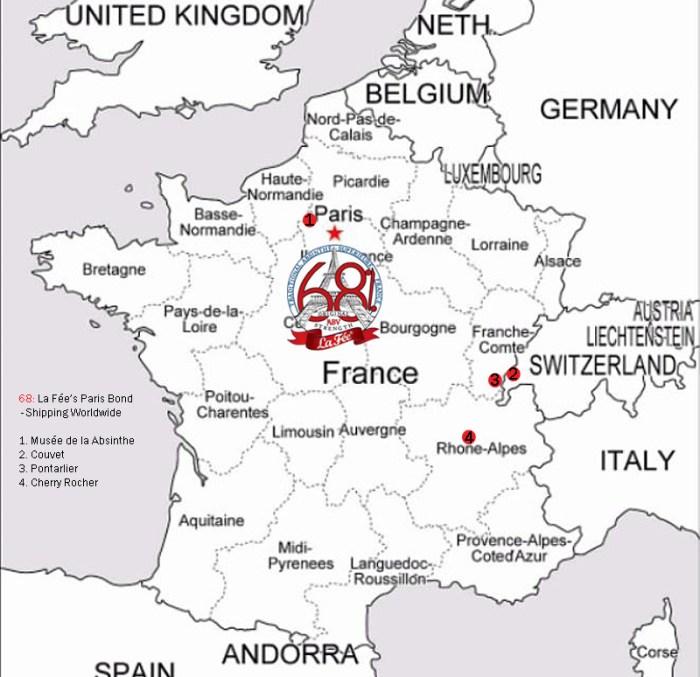 Map of France with La Fée 68% Logo