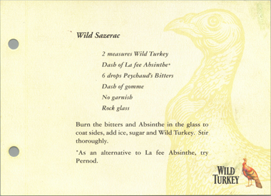 Wild Turkey cocktail recipe with La Fée absinthe